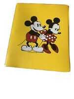 Vintage Disney Mickey and Minnie Mouse 3 Ring Binder Yellow By Dasco