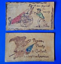 Antique Leather Postcards - Posted Greetings - American Flag Peace & Content