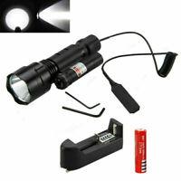 Tactical 5000Lm XML T6 LED Flashlight Gun Mount Hunt Light Red Laser Dot 2*18650