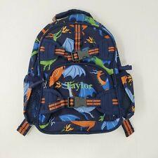 Pottery Barn Kids Back Pack Monogrammed Taylor Dinosaurs Small Bookbag Blue