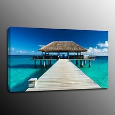 Canvas Prints Blue Seaside Oil Painting Home Decor Wall Wooden Bridge No Frame