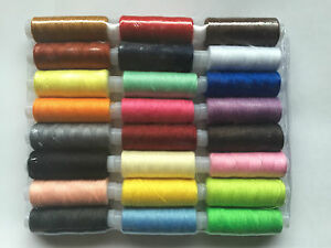 24 x 200M POLYESTER COTTON SEWING THREAD -YARN/SPOOL/REEL -MIXED/ASSORTED/COLOUR