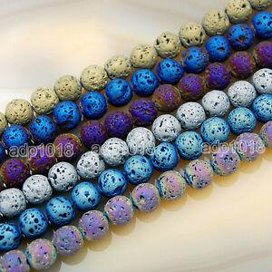 YG/_Oline 150Pcs 8mm Gemstone Fashion Black Round Loose Volcanic Lava Beads Well Polished Energy Stone Rock Beads Great Healing Power for Jewelry Making
