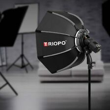 Triopo 90cm Portable Octagon Softbox for Speedlight Flash Bracket with Handgrip