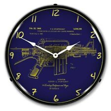 Retro Nostalgic Ar-15 Patent Led Lighted Backlit Man Cave Wall Clock New