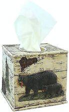 BestGiftEver Bear On Birch Square Tissue Box Cover Cabin Lodge Home Decor