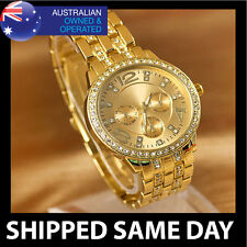WOMENS GOLD FASHION BLING DRESS WATCH FAUX LAB DIAMOND CRYSTALS Ladies Silver 34