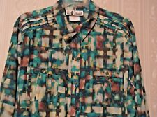 N TOUCH Size XL Long Sleeve Button Front Multi-Color Poly Top/Blouse  NWOT