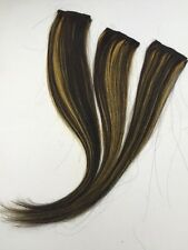 "13"" Clip in Human Hair Extensions streaks #1/GOLDEN YELLOW MIX 3 Pcs"