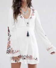 Free People Folk Embroidered Mini Dress 10 $168
