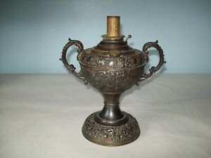 antique fancy New Rochester Jr nickel oil lamp for parts or repair (no  burner