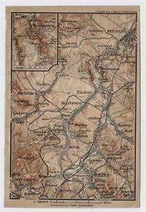 1904 MAP OF WALDENBURG WALBRZYCH FÜRSTENSTEIN FREIBURG SILESIA POLAND GERMANY