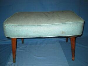 VTG Mid-Century Modern teal Vinyl footstool ottoman hassack stool!