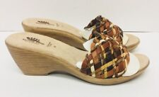 Spring Step Sandals 39 Brown Wood Beads Wedge Heels Made Italy Leather