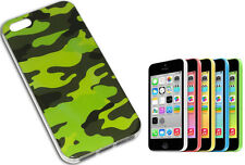IPHONE 5 COVER CASE COMPATIBILE MORBIDA TPU MILITARE MIMETICA VERDE Y
