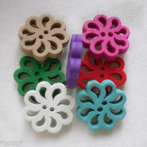 8 Piece Wooden Button IN Flower Shape Filigree 0 25/32in 2 Holes 0 1/8in Thick