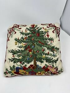 "Vintage Square 13"" Needlepoint Christmas Tree Presents Ornaments Santa Detailed"