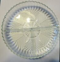 Vintage 3-Section Clear Depression Glass Round Candy Nut Dish Saw Tooth Edge