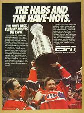 1986 Montreal Canadiens Stanley Cup photo ESPN hockey promo vintage print Ad
