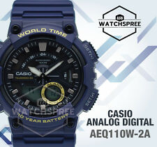Casio Analog Digital Watch Aeq-110w-2av World Time 3 Alarms WR 100m Express Post