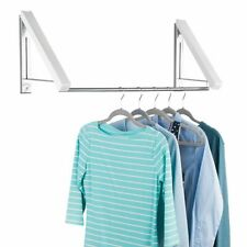 mDesign Expandable Wall Mount Laundry Air Drying Rack Clothing Storage - White