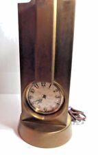 Vintage Brass Art Deco Lanshire Stnola Clock & Lamp Light Works Needs TLC