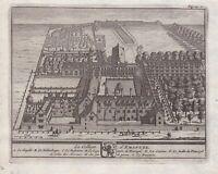 1707 Emmanuel College Cambridge University antique print engraving Kupferstich