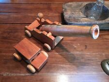 """PAIR VINTAGE Large WOODEN  CANON  18""""x 5"""" & Wooden CAR 7"""" X 4"""" Toys"""