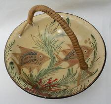 Studio Art Pottery Slipware Scraffito Oriental Fish Bowl Wicker Handle Signed CD