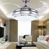"42"" LED Invisible Ceiling Fan Light Remote Control Dining Room Chandelier Lamp"