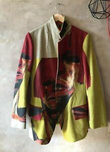 YOHJI YAMAMOTO Y's Red Label Blazer Men WOOL Jacket 4 ABSTRACT PAINT COLLAB RARE