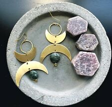 Twin Moons Earrings Gold Plated Hooks Brass Crescent & Circle Green Agate Gems