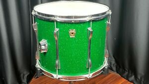 """Ludwig Vintage Drums 12""""x15"""" Sparkle Green Tom Tom Modified Used - SG3E"""