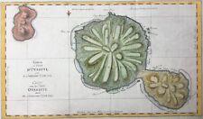 Tahiti 1769 Lieutenant James Cook 1st voyage Otahiti Eimeo Mo'orea antique map