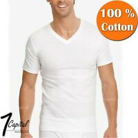 3-12 PACK Mens 100% Cotton Tagless Crew V-Neck Undershirt White T Shirt Tee S-XL