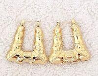 14K Gold Tone Trapezoid Bamboo Style Hoop Earrings Door Knocker  #14