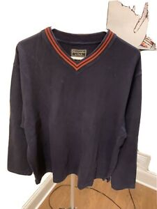 Abercrombie & Fitch  Navy Blue V Pullover XL Orange 1998?