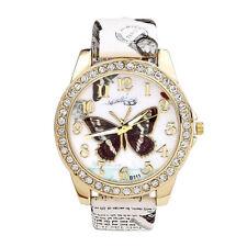 Damenuhr PU Leder Uhrband Armbanduhr Schmetterling Muster Analog Quarzuhr Mode