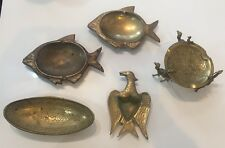 Lot Of 5 SYRIAN, Middle Eastern Brass Ash Trays