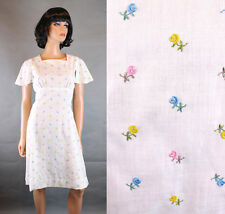 Prairie Girl Dress XS Vintage 70s White Cotton Blend Embroidered Floral Cute