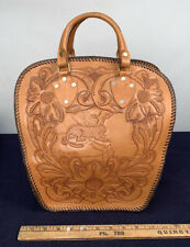 Vintage Hand Tooled Brown Leather Bowling Ball Bag Cougar Panther Leopard Cat