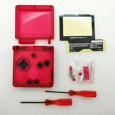 GBA SP Game Boy Advance SP Replacement Housing Shell Transparent Clear Red