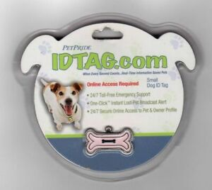 PetPride Dog ID Tag Size Small Pink Silver Metal Enamel Lost Pet Support Bone