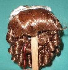 """Brown Glorex doll wig, 11"""" to 11.5"""", pageboy with small french curls"""