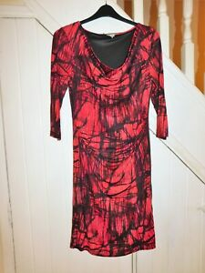 APANAGE FEMME SIZE 16 - 3/4 SLEEVE FULLY LINED PINK MIX WINTER DRESS