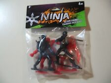 Red & Black Ninja Figures (4 in a bag, 3.5 inch each) Brand New and Sealed