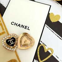 Stamped Vintage Heart Chanel SET LOT OF 2 Button Buttons CC logo