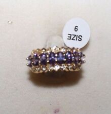 Magnificent Oval Cut Amethyst & White Topaz Band Ring, Size 9, 10kt YGP
