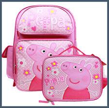 """Peppa Pig Large 16"""" Backpack & Lunch Bag Set U.S.A Large School Book Bag"""