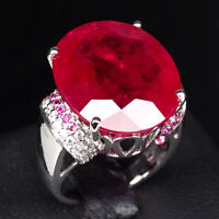 PIGEON BLOOD RED RUBY 24.90 CT.SAPPHIRE 925 STERLING SILVER JEWELRY RING SZ 6.25
